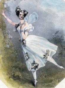 Marie Taglioni como Flore no ballet Zephire et Flore De Charles Didelot. Litografia de 1831 do Victoria & Albert Museum